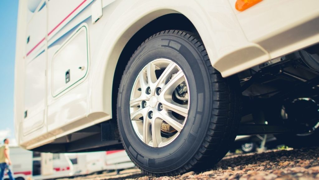 The rear tires of an RV