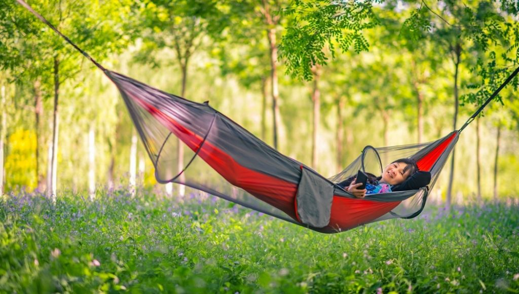 The camping hammock the concept of sleep during camping