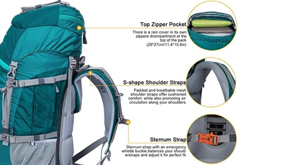 Mountaintop 70l backpacks quality and softness of this net padding itself is adequate