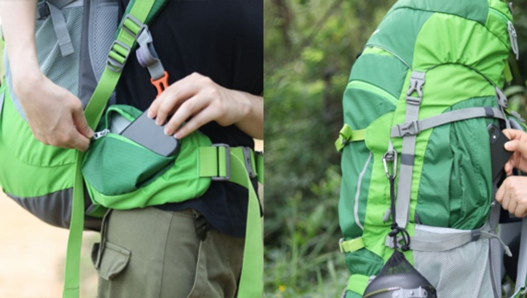 There are also a pair of small hip pockets on the belt for storing snacks, sunglasses, etc.