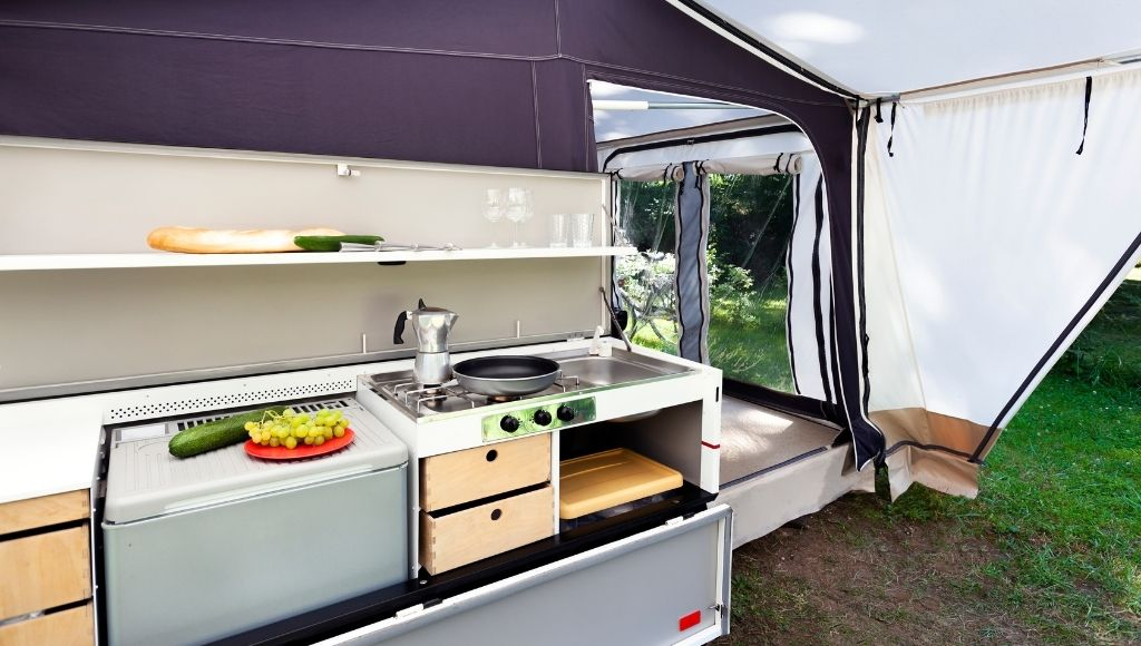 A beautiful portable camping kitchen table