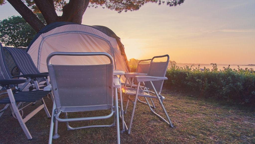 Best folding camping table and chairs in the sunrise in brittany