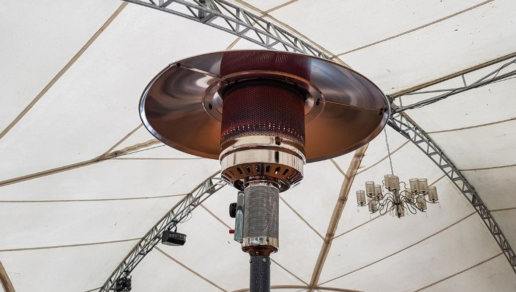 A tent heater into the camp tent
