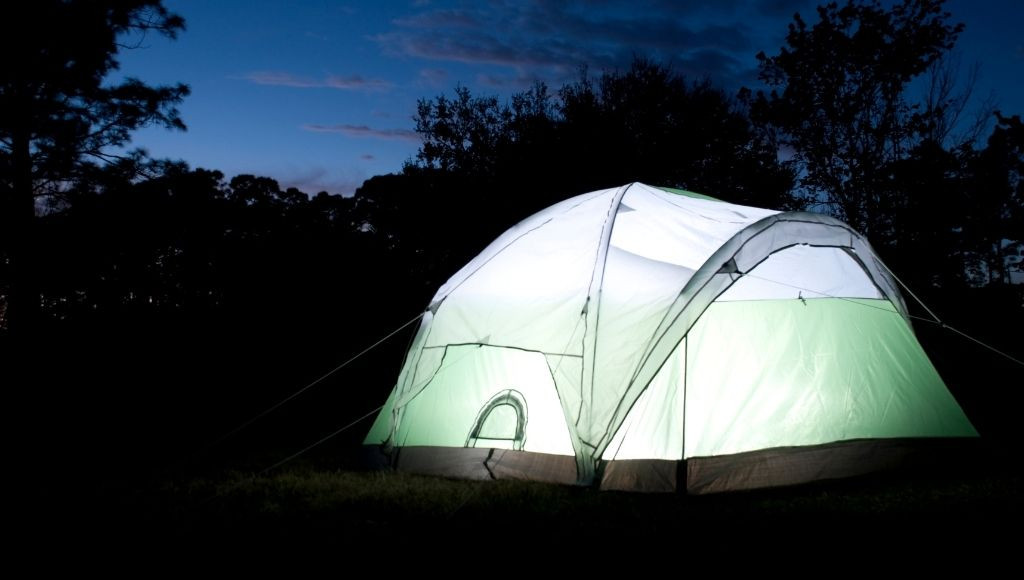 At the night outer look of a tent